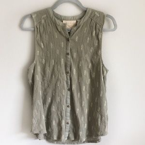 Anthropologie Olive Tank with Gold Thread Size 10
